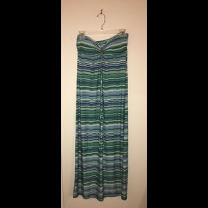 Green strip maxi dress